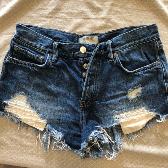 Free People Loving Good Vibrations denim shorts